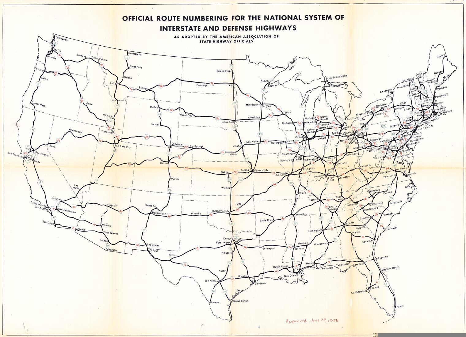 National System of Interstate And Defense Highways 1958